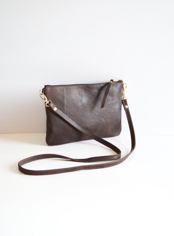 625d61bab905 Brown Leather Crossbody Bag Minimalist Leather Purse Small Leather ...