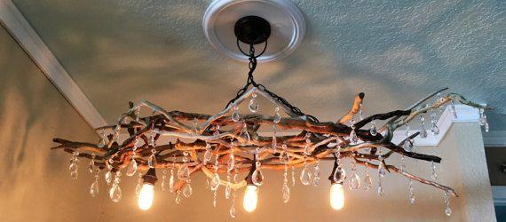 Driftwood & Vintage Crystal Chandelier