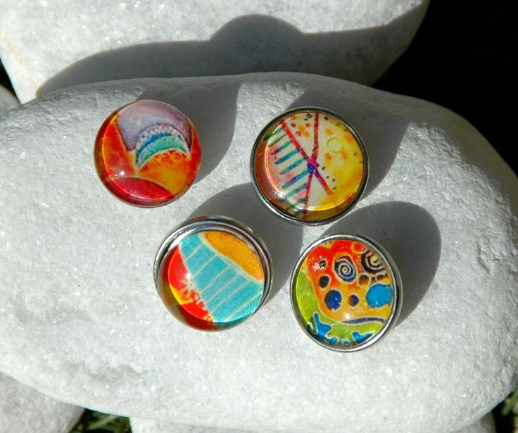 Colorful Abstract Pattern Snap Jewelry Button Interchangeable Jewelry Noosa Style Snap Charm Chunk Popper Snap. The Price is for one unit. by Monibu on Etsy