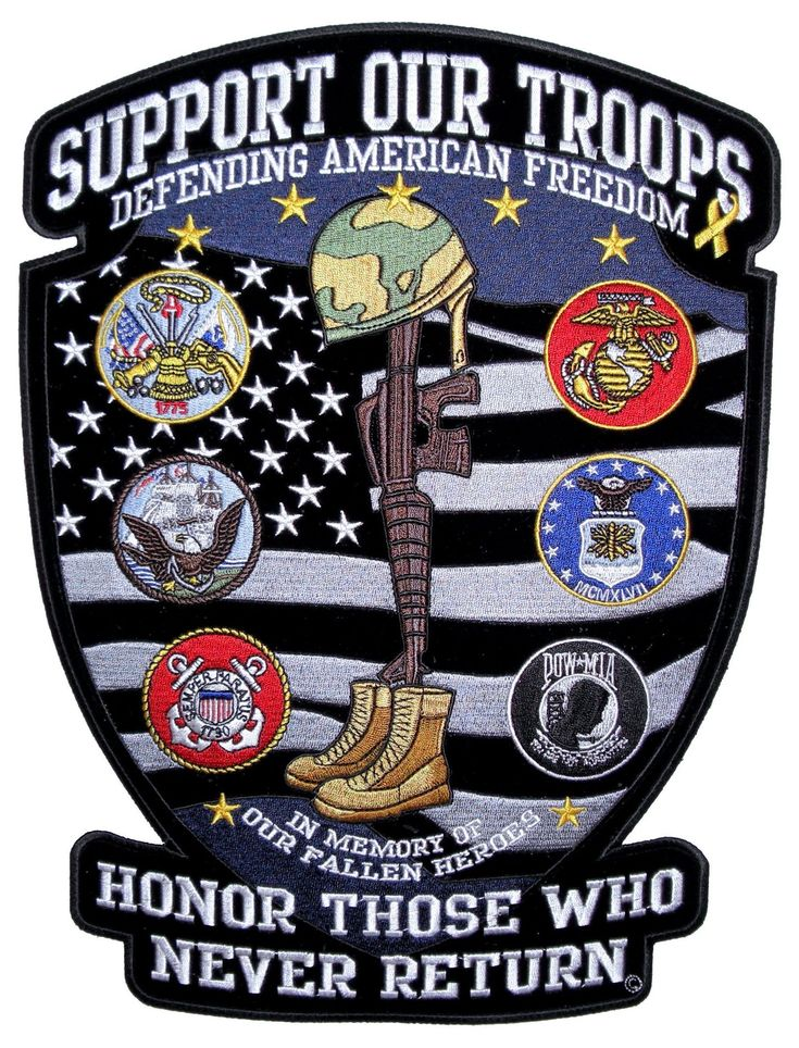 Patriotic Support Our Troops Military Embroidered Biker Patch – Quality Biker Patches