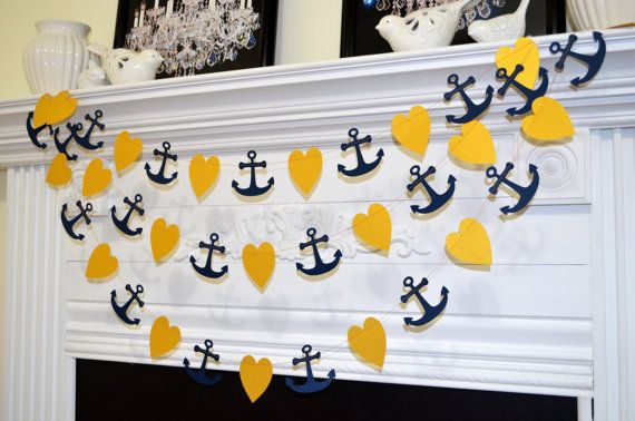 Anchor heart garland gold hearts navy anchor by DCBannerDesigns, $12.00