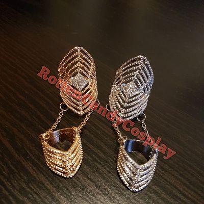 Rhinestone rhombus ring nightclub harley cosplay