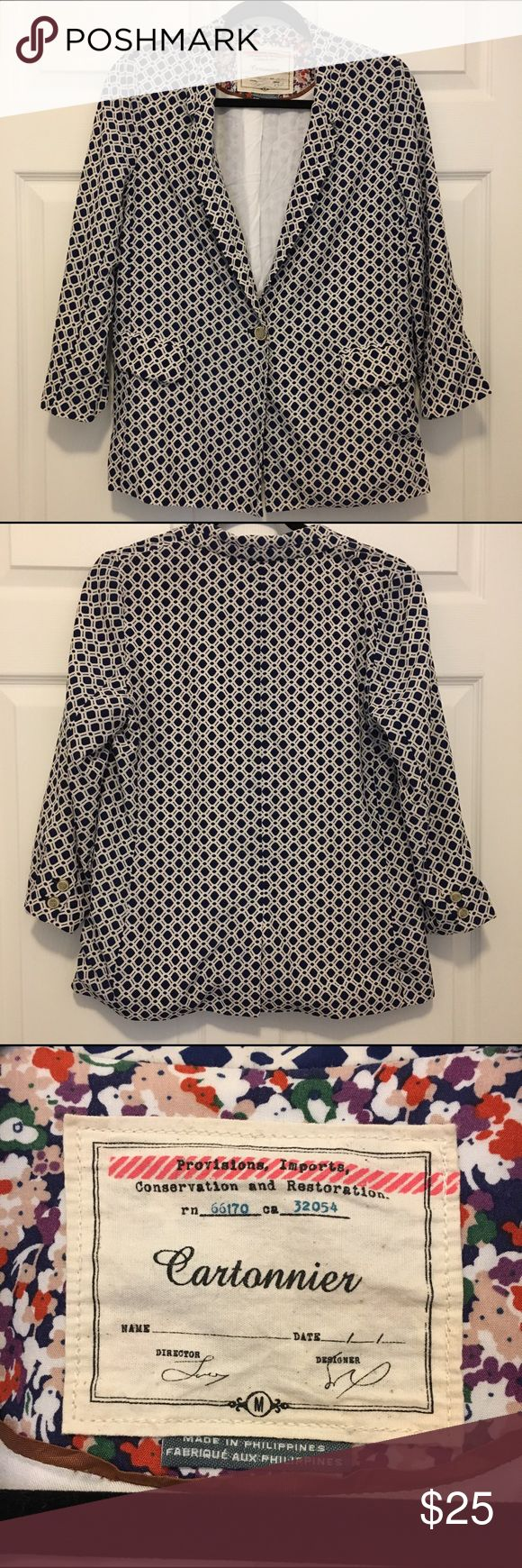 Cartonnier Anthropologie Geometric Blazer Size M Cartonnier by Anthropologie •Boyfriend style, single button •Navy & White Geometric Print •Beige artful front buttons & on cuff •Excellent pre-owned condition •No holes, snags, rips or stains   •Smoke-free home  Please review all photos to know exactly what you are purchasing. We can post more photos if needed.  If we forgot anything, just tag us and ask! 💋  No 🅿️🅿️ No Ⓜ️ 🚫 Trades Anthropologie Jackets & Coats
