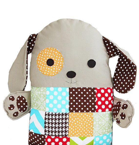 Patchwork Sewing Pattern Stuffed Toy Dog Pillow #handmade #toys #toy #stuffed #stuffedtoys