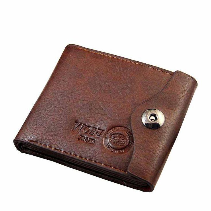 Men Hasp Wallet Leather Trifold Wallet