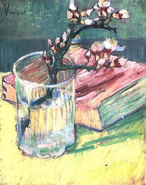 Vincent van Gogh: The Paintings (Blossoming Almond Branch in a Glass with a Book). Arles 1888. Japan: private collection.Vincent Of Onofrio, Almond Branches, Glasses, Private Collection, Vincent Vans Gogh, Art, Vincentvangogh, Vincent Van Gogh, Blossoms Almond