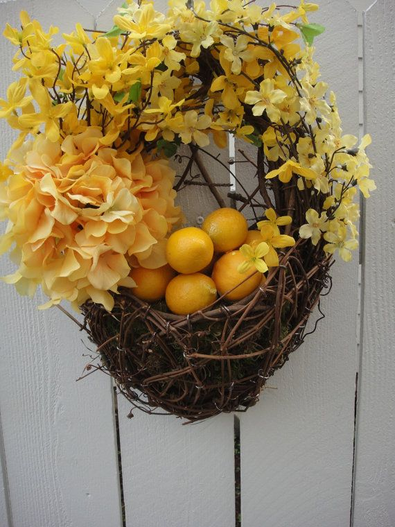 Floral Basket   Forsythia Wreath   Easter Wreath   by donnahubbard, $60.00