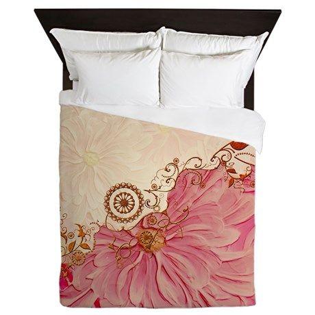 Vintage design in soft colors Queen Duvet on CafePress.com