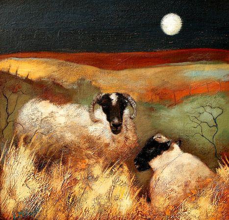 Blackies under a Moon ~ Scottish artist Lesley McLaren