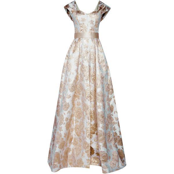 Mark Bumgarner Amelia Dress ($5,450) ❤ liked on Polyvore featuring dresses, gold, front slit dress, white sweetheart neckline dress, white color dress, sweetheart neckline dresses and white fitted top