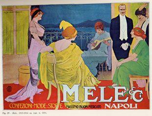 """Tecnica: Manifesto litografico / Lithographic poster Dimensione: cm. 200 x 280 Anno: 1914 Soggetto: """" Mele & C. Napoli"""" - Confezioni mode stoffe- massimo buon mercato. Stampa Ricordi, Milano"""