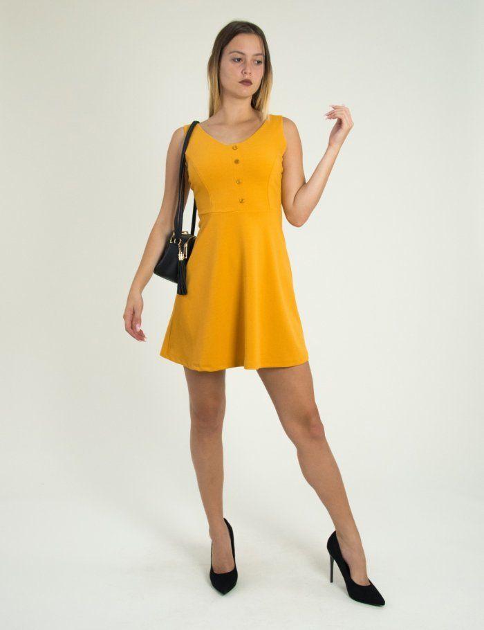 Γυναικείο ώχρα κλος φόρεμα με κουμπιά Benissimo 91727Q  τορούχο  torouxo   foremata  φορέματα 394f54c606c