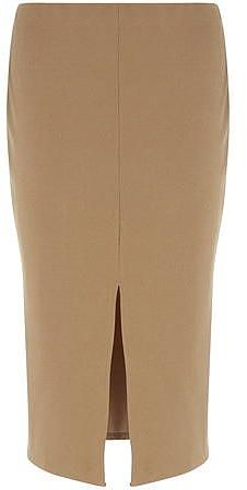Womens camel camel crepe front split skirt from Dorothy Perkins - £20 at ClothingByColour.com