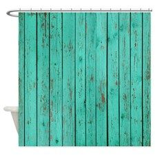 Rustic Turquoise Shower Curtain for
