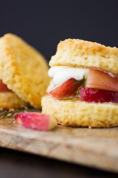 White Nectarine and Lemon Verbena Shortcakes with Cornmeal Biscuits and Honey Yogurt Chantilly | The Bojon Gourmet