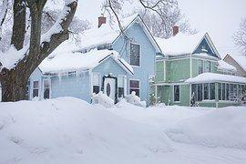 Huis, Huizen, Buurt, Winter, Blauw, Ijs