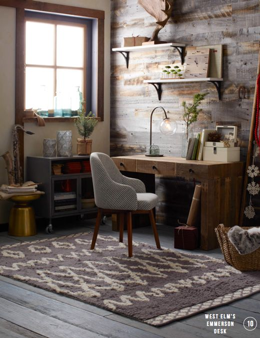 home office. Love the rug, chair, desk, wall, and saxophone!