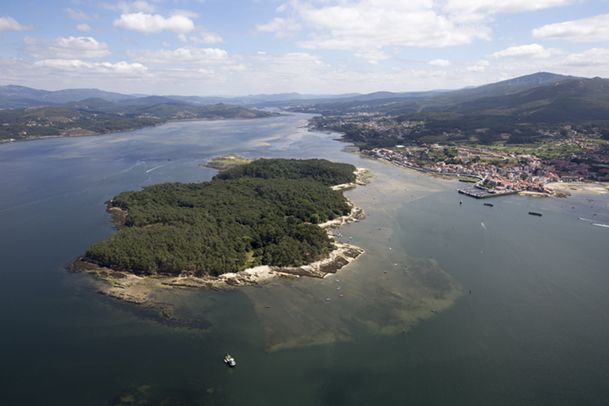 Vista aérea de la isla de Cortegada, en el fondo de la ría de Arousa.  http://www.vivirgaliciaturismo.com/isla-de-cortegada-en-ria-de-arousa/