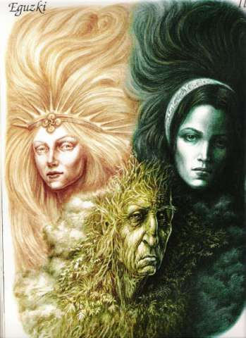 """The Goddesses Eguzki, Ilazki & Lur  """"In Basque mythology, Eki or Eguzki is seen as daughter of [Lur] Mother Earth to whom She returns daily. She was regarded as the protector of humanity and the enemy of all evil spirits. The ancient Iberians called Her 'grandmother'; and held rites in Her honour at sunset. They believed that when the sun set, Ekhi travelled into Itxasgorrieta ('The Reddish Seas') beneath the earth into the womb of Lurbira, Her mother"""