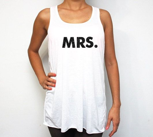 MRS Glitter White Racerback Tank Tops Bridesmaid by BridesmaidTank