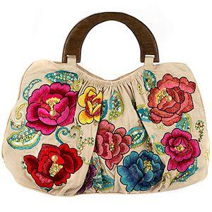 Nice, I love flowers: Summer Dresses, Stylish Handbags, Accesor Bags, Beautiful Bags, Bags A Hol, Rose Embroidered Bags, Awesome Bags, Embroidered Hands, Hands Bags