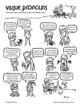 """You know what """"they"""" say. Vague pronouns are a problem. Here's a comic with activities that shows students why."""