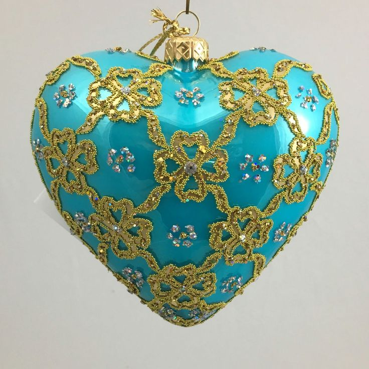Valentine s Day HEART BLUE RIBBON 4.72  glass ornament hand-made in Poland  | eBay