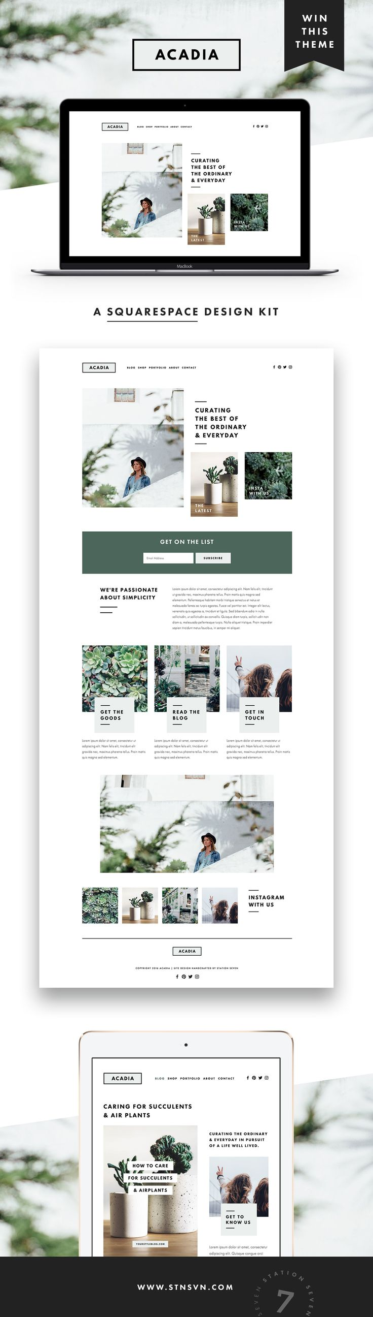 GIVEAWAY! Introducing our latest web design for Squarespace, Acadia! If you've been thinking about sprucing up your blog or site design, there's no time like the present. Simply follow us @stnsvn and repin this pin for a chance to win our new Acadia Squar