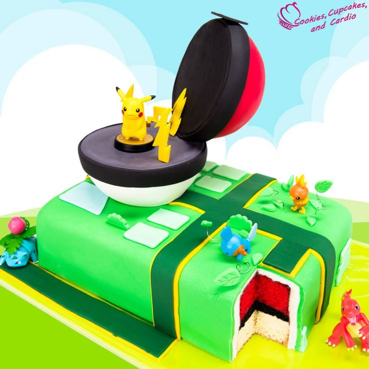 Pokemon Go Cake! Pikachu cake with a surprise pokeball cake inside!!