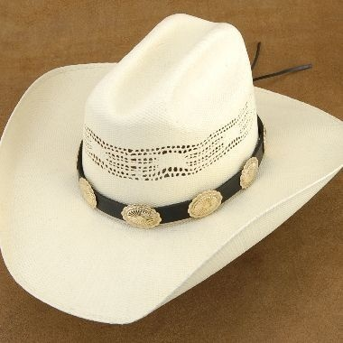 Genuine Jeweler's Gold Scalloped Concho Black Leather Hat Band