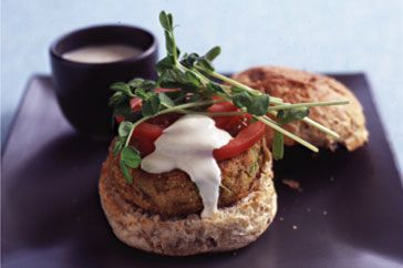 Serve curried lentil burgers on wholemeal rolls with tomatoes, snow pea shoots and yoghurt for dinner and everyone will be asking for more!