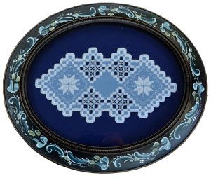 Oval Rosemaled Frame with Hardanger Blue