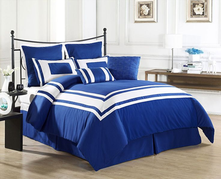 Lux Décor Collection 8 Pieces Comforter Set BLUE, White Stripe   QUEEN Size  Bedding   Product Description: Wrap Yourself In The Softness Of The Lux  Décor ...