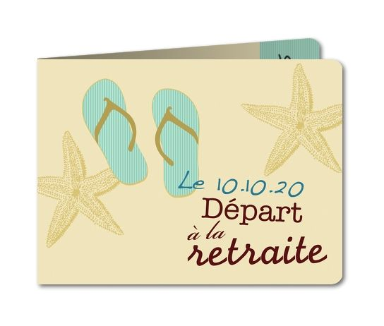 Carte invitation départ retraite Tongs (B-468-RC1)