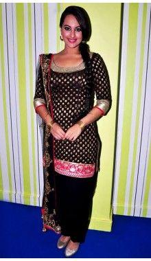 Black Sonakshi Sinha Viscose Readymade Designer Suit Rs.7,599
