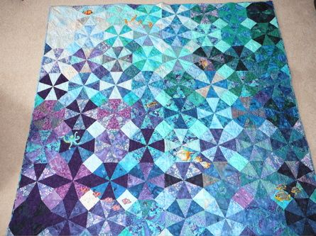 Colours Of The Sea Quilt (Kaleidoscope: beautifully subtle)