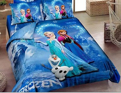 Disney Movie Frozen Anna Elsa Sister Love Twin Quilt Cover Bedding Set