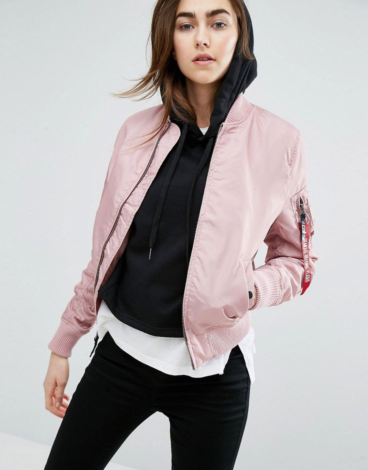 Buy it now. Alpha Industries MA-1 TT Bomber Jacket - Pink. Bomber jacket by Alpha Industries, Smooth woven fabric, Baseball collar, Zip fastening, Functional pockets, Ribbed trims, Regular fit - true to size, Dry clean, 65% Nylon, 35% Polyester, Our model wears a UK S/EU S/US XS and is 176cm/5'9.5 tall. ABOUT ALPHA INDUSTRIES The premier supplier of tough wearing jackets for the U.S. military; Alpha Industries' quality manufacturing expertise has soon developed into a worldwide fashion…