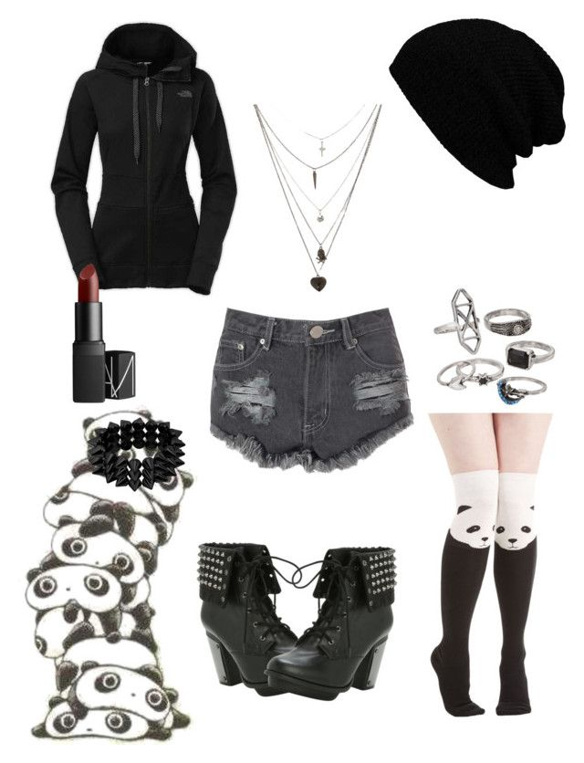 """""""Untitled #69"""" by kaylarawrz ❤ liked on Polyvore featuring Glamorous, Panda, The North Face, Mudd and NARS Cosmetics"""