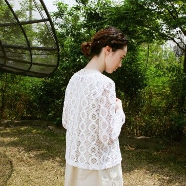[Wavy Lace Cardigan] A #lace #cardigan featuring a wave pattern. Long sleeves. Full button placket. #natural #pure #white #feminine #korean #asian #koreanfashion #asianfashion #springfashion #fallfashion #autumnfashion #lookbook #springlook #autumnlook #fashiontoany