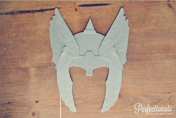 Felt Thor Helmet Prop // Super Hero Mask on a stick // Avengers Super Hero Prop // Wedding Photo Prop // Wedding Photo Booth Prop