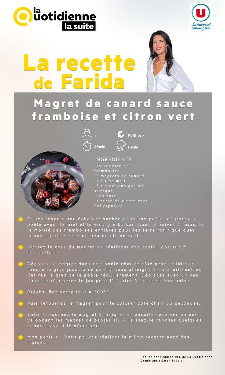 Dans cette recette, Farida  associe le magret de canard à la framboise et au citron vert...