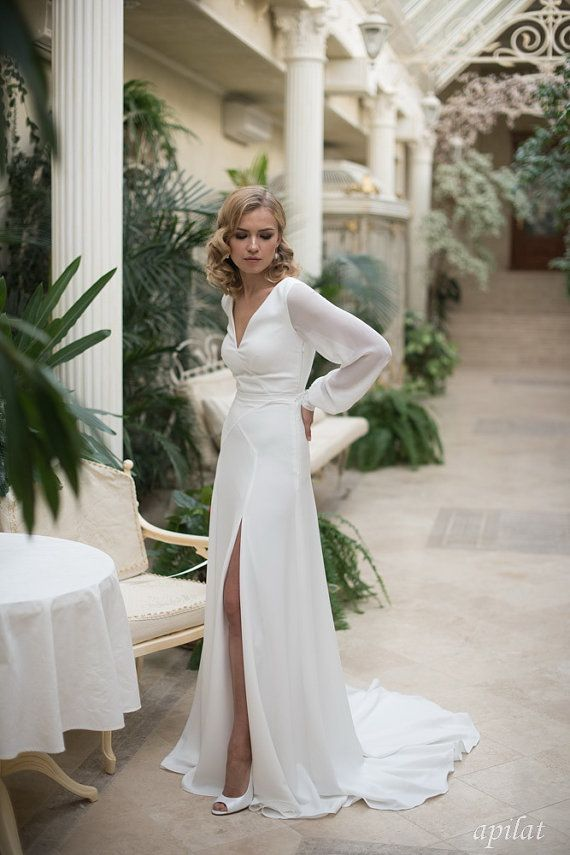 Ivory Crepe Open Back Wedding Dress and Handmade Embellishments, Long Sleeve Wed…