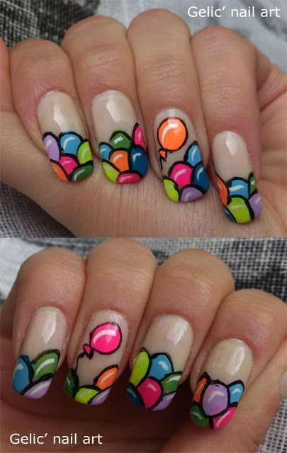 awesome Gelic' nail art: Balloon funky french/ balloon nail art