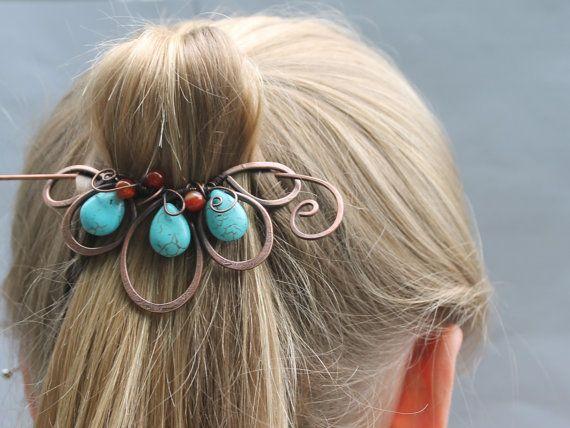 Boho Hair Clip, Beaded Turquoise Red Flower Hair Barrette, Hair Slide, Copper Hair Pin, Bun Wrap, Unusual Hair Accessories for Women, Gift