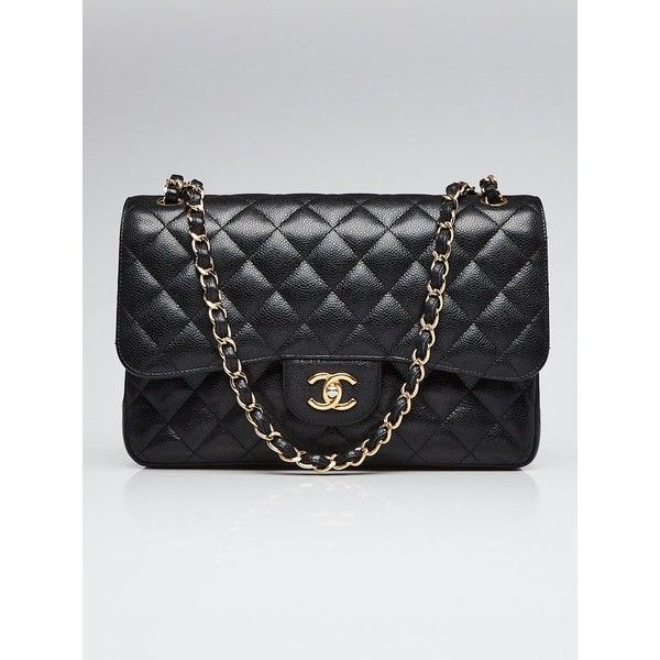 Pre-owned Chanel Black Quilted Caviar Leather Classic Jumbo Double... ($4,295) ❤ liked on Polyvore featuring bags, handbags, leather handbags, quilted chain handbag, chanel, pre owned handbag and chain handbags