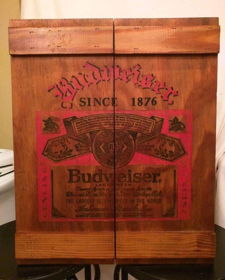Vintage Budweiser Wall Cabinet Crate Beer Can Display Dart