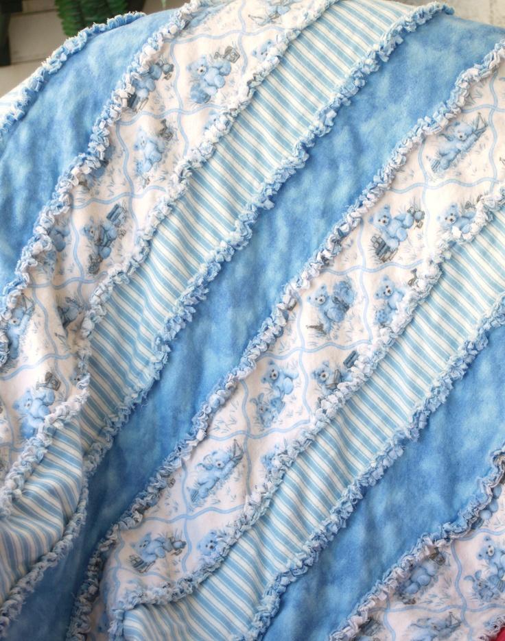 "Baby or Toddler Boy Blue Teddy Bear Flannel Rag Quilt Blanket 32x37"". $29.00, via Etsy @ BubbyBearBlankets"