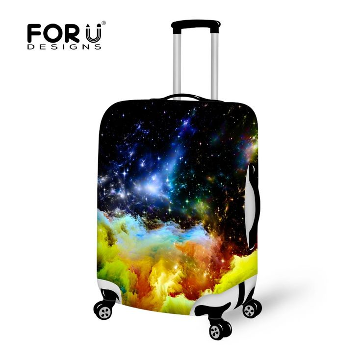 Fashion Universe Space Printed Elastic Luggage Cover Suitcase Protective Cover for 18-30 Inch Cases Stretchable Luggage Cover
