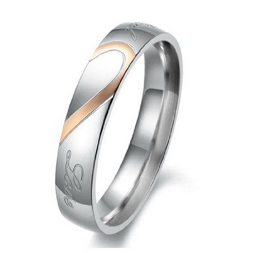 "JBlue Jewelry Men,Women's ""Real Love"" Heart Stainless Steel Band Ring Valentine Love Couples Wedding Engagement... - List price: $37.00 Price: $0.95"